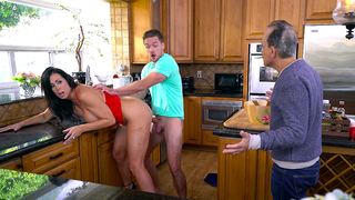 Tricky guy has incest sex with brunette mom until they are caught