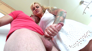 Porn video of horny mom giving guy incest blowjob in the kitchen
