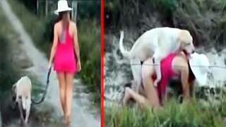 XXX girl walks white dog on the leash and lets pet fuck her pussy