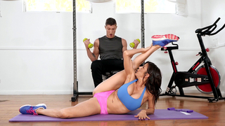 XXX yoga MILF with big fake hooters gives incest blowjob in the gym