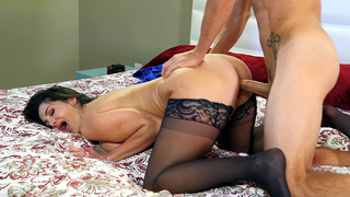 Full-bosomed incest MILF in stockings fucked by XXX stepson on bed