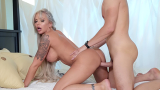 Gorgeous mom endures stepson's cock in her pussy from behind in the doggystyle