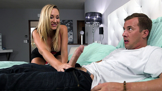 Curious stepmom comes to play with stepson's dick in a xxx incest porn video and gets licked