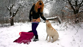 White dog has fantastic XXX sex with slender mistress in winter forest