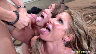 Stepmom craves for stepson's dick and takes her daughter in a xxx incest banging