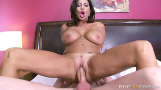 Busty mature stepmom rides her stepson's dick moaning loudly in the xxx incest scene