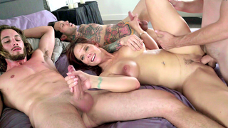 Shameless stepmom has xxx incest sex with stepson and his friend enjoying group sex