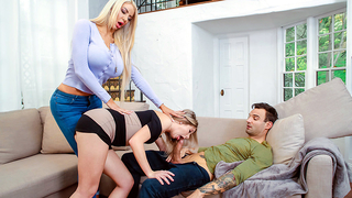 Teen catches XXX mom sucking cock and incest MILF makes her join