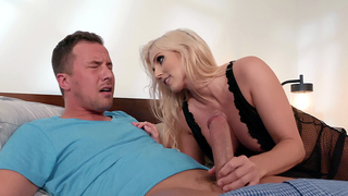 Mom pretends to be sleepwalker to give incest blowjob to XXX guy