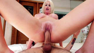 Mom makes son's XXX cock fondle pussy from inside riding him in incest passion