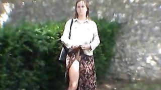 Furry muff French slutty wife flashing her body in public sex in toilets