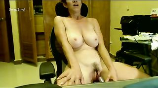Cam aged cheating wife gratifying herself in front of computer camera