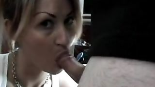 Naughty horny white wife engulfing off hubby giving him a particular treat ass fucking