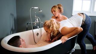 Mom and her XXX friend climb into bathtub to serve incest boy's cock