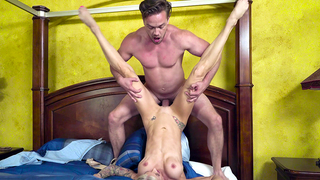 Excited boy and blonde mom have awesome incest XXX sex in bedroom