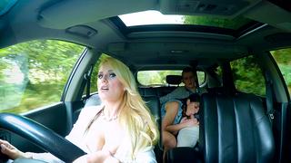XXX teen is sucking boyfriend's cock while incest mom is driving car