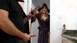 Incest mom in witch costume sucks XXX stranger's cock in bathroom