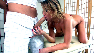 Handsome masseur has to satisfy young XXX client and her incest mom