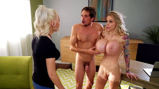 Buxom mom gives guy incest XXX titjob that culminates with facial
