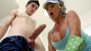 Pervert granny is sucking the young hard cock