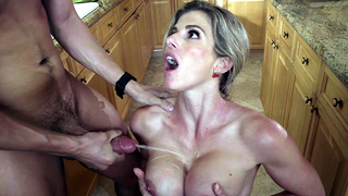 Mom forgives XXX guy after incest sex that ends with cumshot on tits