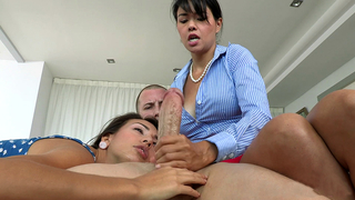 Asian mom checks XXX girl's cocksucking skills in incest video