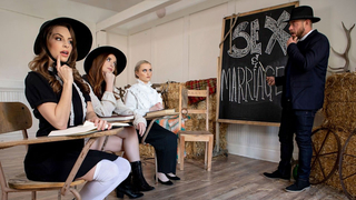 Three girls from a Amish community enjoy rough fucking and perverted lesbian sex