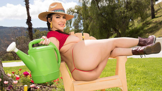 Gardening Hoe with a big ass loves getting her pussy plowed by a large cock