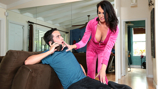 XXX mom has incest with son talking with girlfriend on the phone