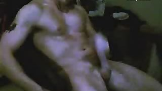 Fit youthful chap jerks his schlong intensely and explodes with cum