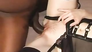 Sexy pale white dirty slut wife in feitsh underware making home porn with dark bf