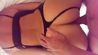 From Behind Sex in Lingerie Shoving My Cock In Between Her Legs