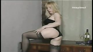 Filthy British blond getting it during the time that wearing underware bent over