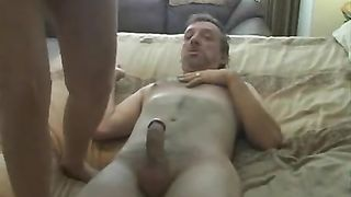 Horny older redhead creampied by hubby in reverse cowgirl