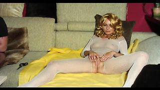 Fucking sexy mother I'd like to fuck in crotchless body stocking home non-professional sex clip