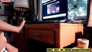 Wife Masturbates while watching animal Porn- Animal sex
