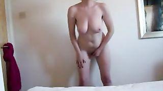 Amateur wife gets orgasm fucking a dildo attached to wall she watching porn