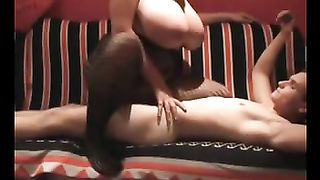 Big tit dirty slut wife engulfing and riding on top