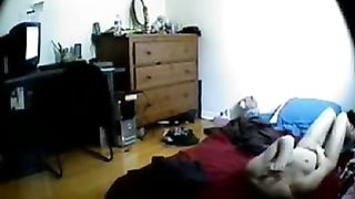 Time to masturbate. My slutty wife caught by hidden cam in bedroom