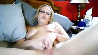 Wife pussy-fingering episode with a nerdy non-professional cam golden-haired hussy