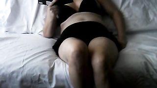 My slutty Wife home alone masturbating caught on hiddencam