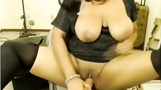 Exotic black skin wife wench on web camera flashes her large hooters