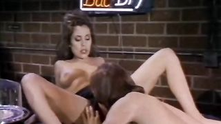 Awesome brunette hair wife receives her snatch licked and team-fucked in a bar