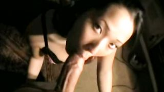 Asian dirty slut wife worships his large white cock