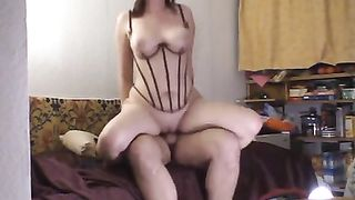 Sexy non-professional wearing a basque getting well screwed