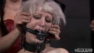 Blonde wife sweetheart with fastened body is abused by her mastix