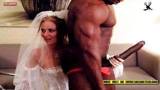 Redhead Slutty Bride with black guys