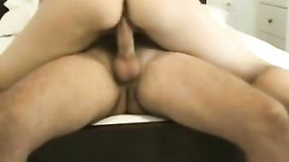 Hot classic cowgirl position riding in the hotel room