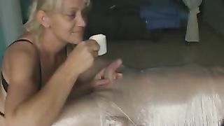 My golden-haired wifey gives me a ardent cook jerking in homemade sex vid