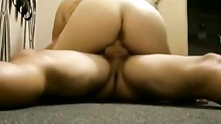 Busty fat white horny white wife knocks me down on the floor and rides my shlong